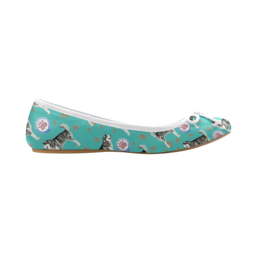Alaskan Malamute Water Colour Pattern No.1 Juno Ballet Pumps - TeeAmazing