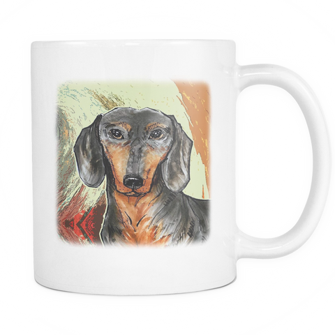 Dachshund Painting Dog Mugs & Coffee Cups - Dachshund Coffee Mugs - TeeAmazing