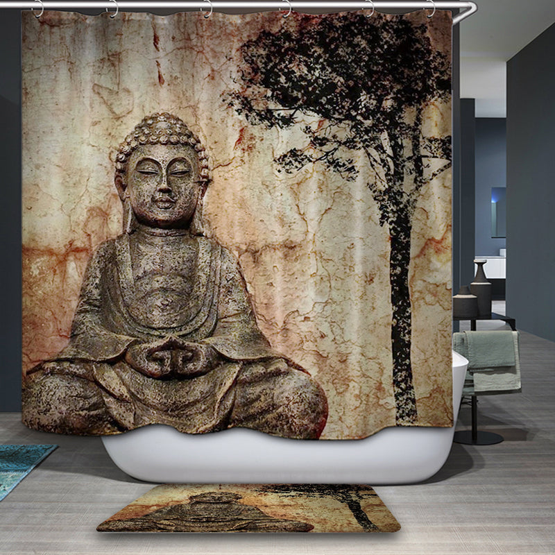 Buddha Shower Curtains Waterproof Polyester Fabric Bathroom Curtain