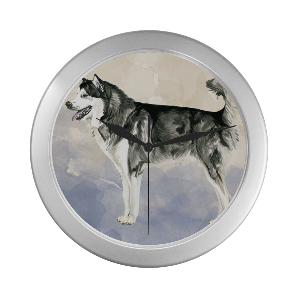Alaskan Malamute Water Colour Silver Color Wall Clock - TeeAmazing
