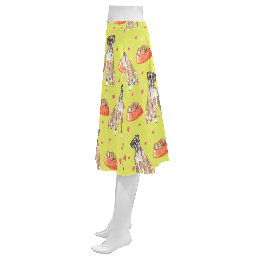 Boxer Water Colour Pattern No.2 Mnemosyne Women's Crepe Skirt (Model D16) - TeeAmazing