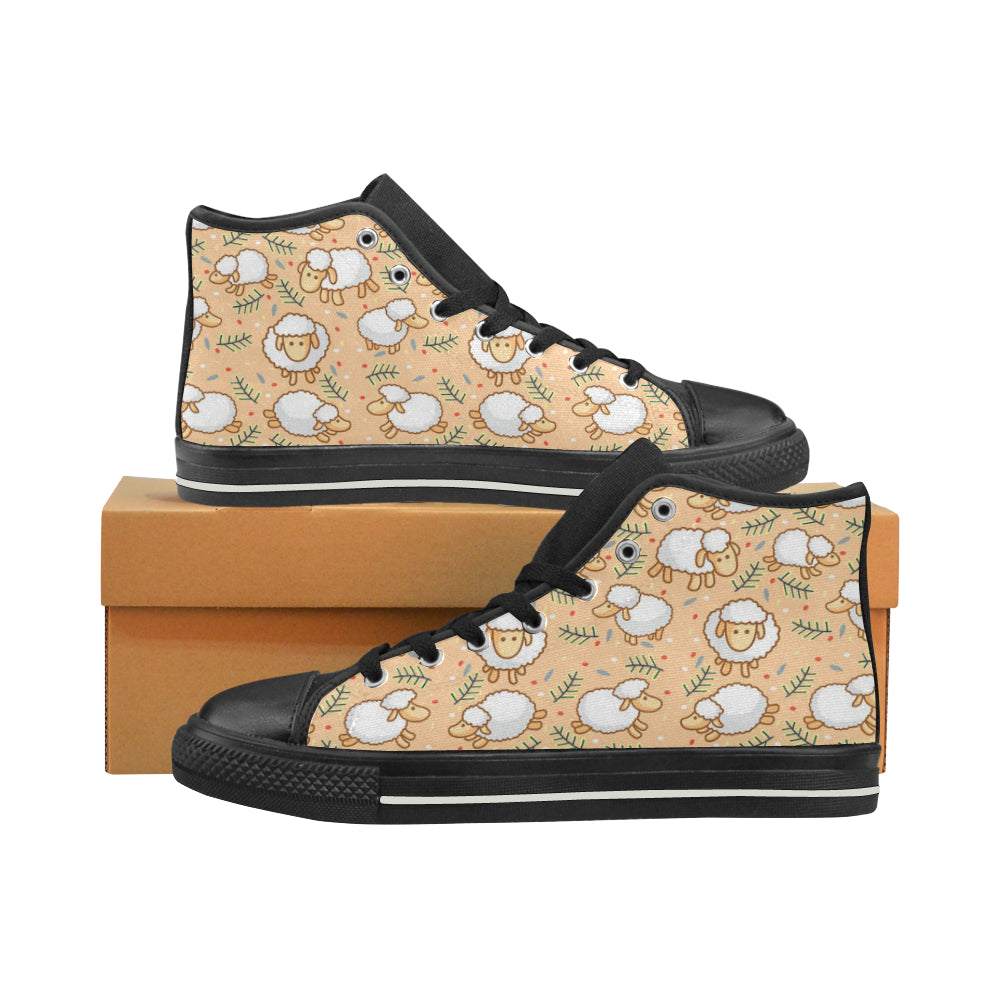 Sheep Black High Top Canvas Shoes for Kid - TeeAmazing