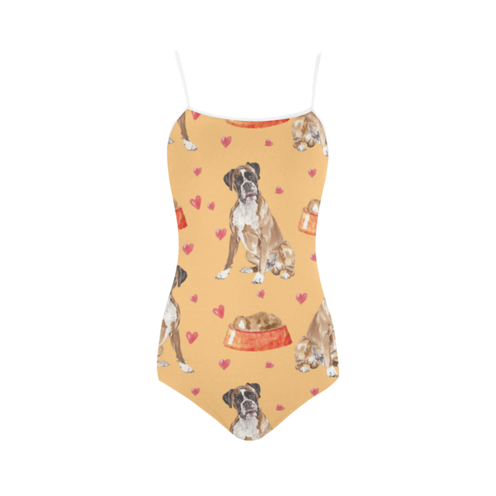 Boxer Water Colour Pattern No.1 Strap Swimsuit - TeeAmazing