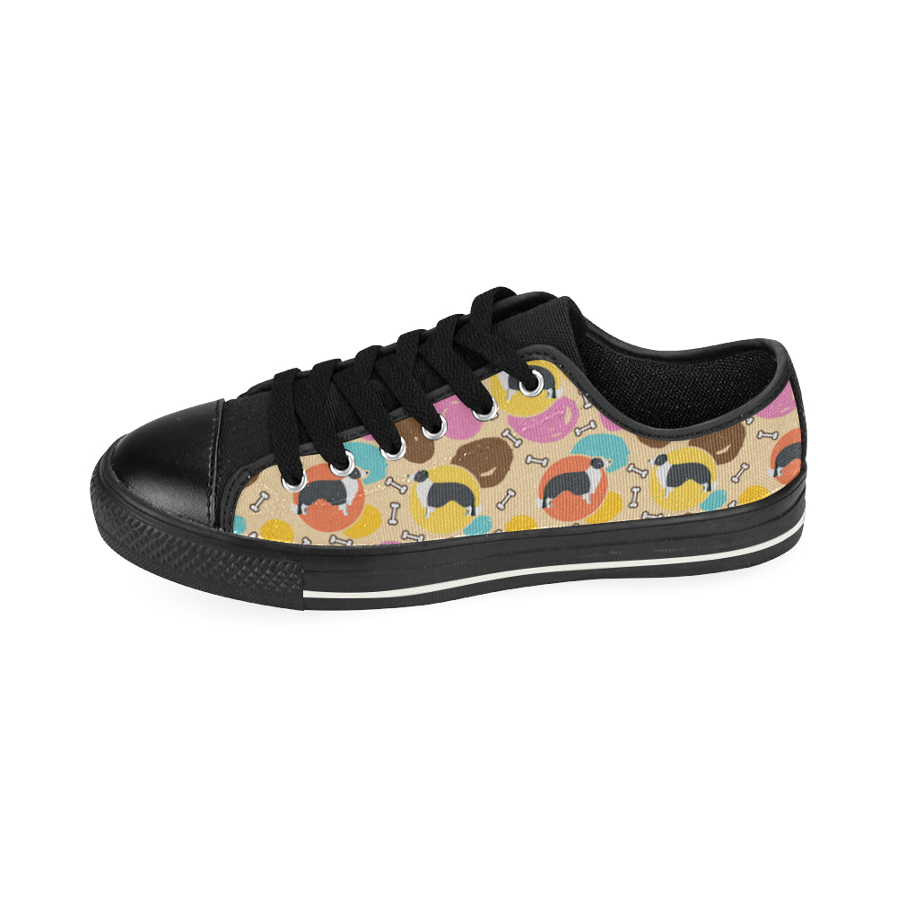Border Collie Pattern Black Low Top Canvas Shoes for Kid - TeeAmazing
