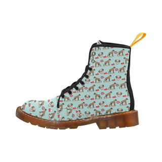 Boxer Pattern Black Martin Boots For Women - TeeAmazing
