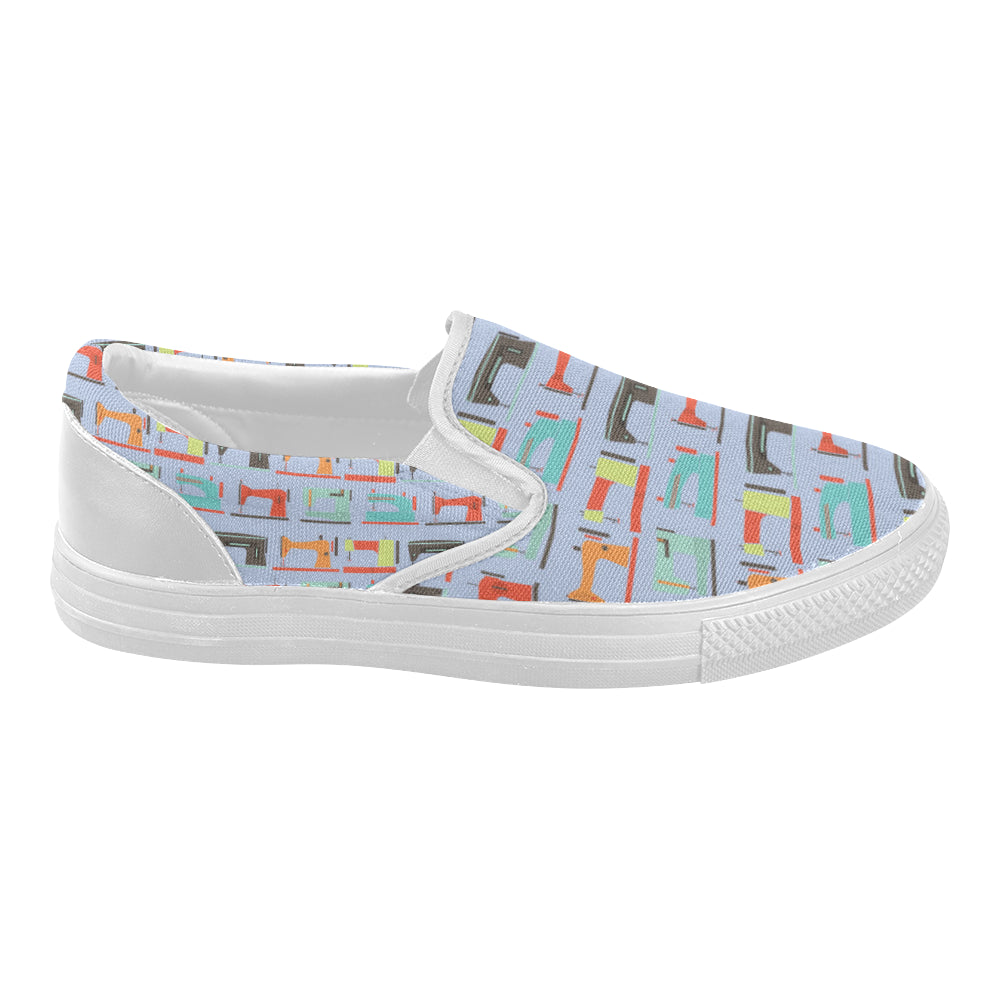 Sewing Machine Pattern White Women's Slip-on Canvas Shoes - TeeAmazing