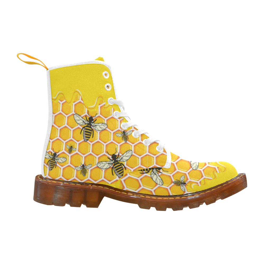 Bee Pattern White Boots For Men - TeeAmazing