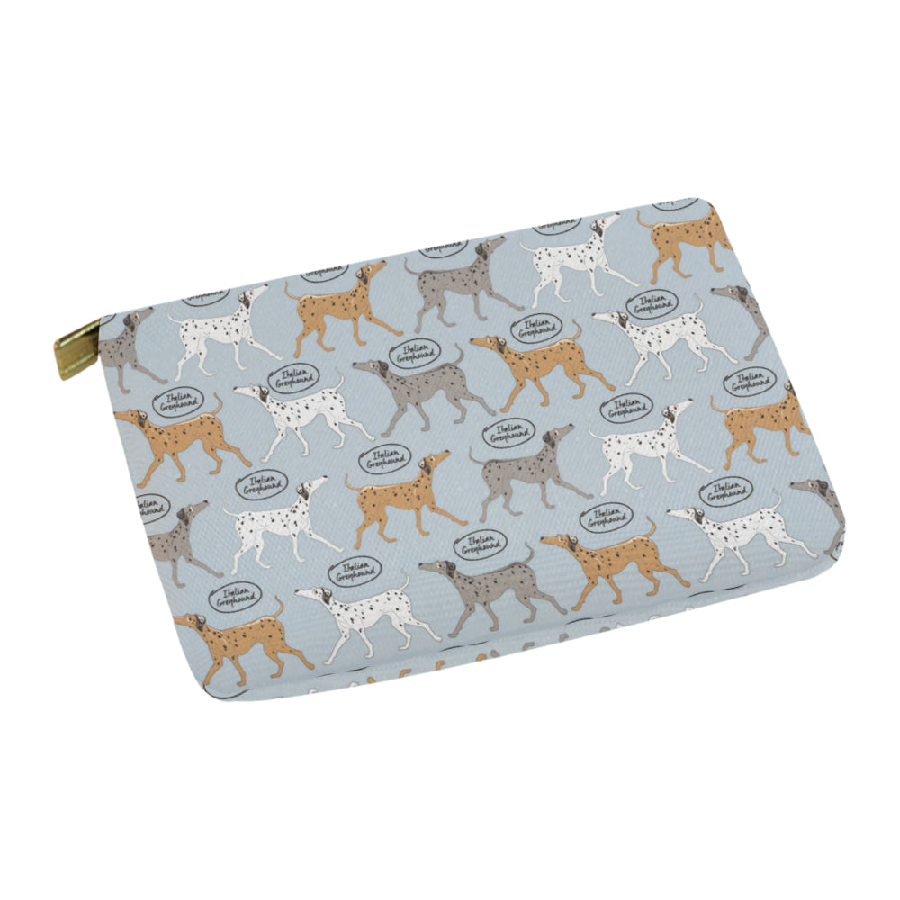 Italian Greyhound Pattern Carry-All Pouch 12.5x8.5 - TeeAmazing