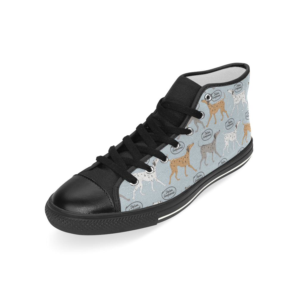 Italian Greyhound Pattern Black Men's Classic High Top Canvas Shoes - TeeAmazing