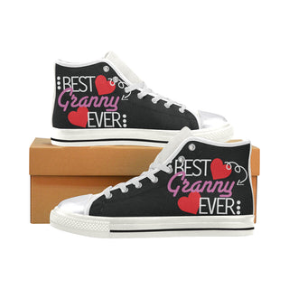 Granny White Women's Classic High Top Canvas Shoes - TeeAmazing