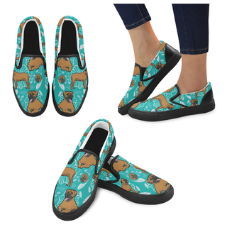 Bullmastiff Flower Black Women's Slip-on Canvas Shoes - TeeAmazing