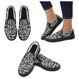 Biker Engine Black Women's Slip-on Canvas Shoes - TeeAmazing
