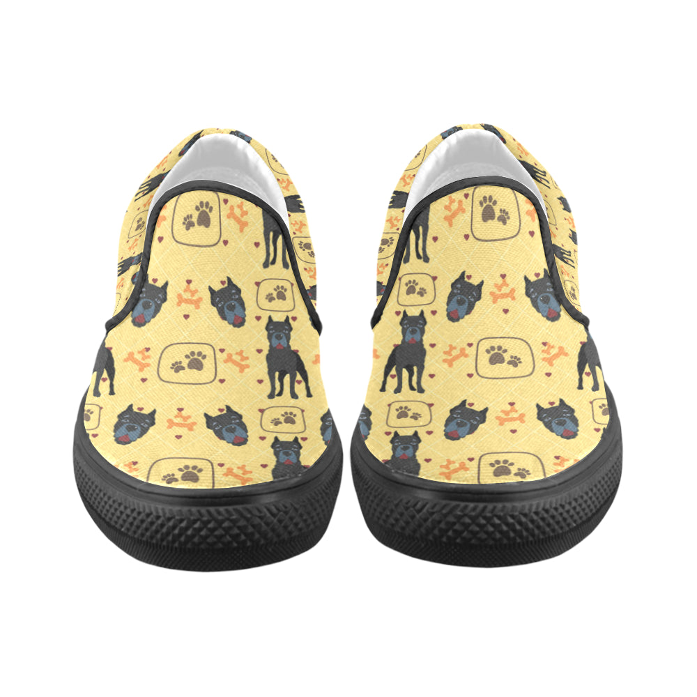 Cane Corso Pattern Black Women's Slip-on Canvas Shoes - TeeAmazing