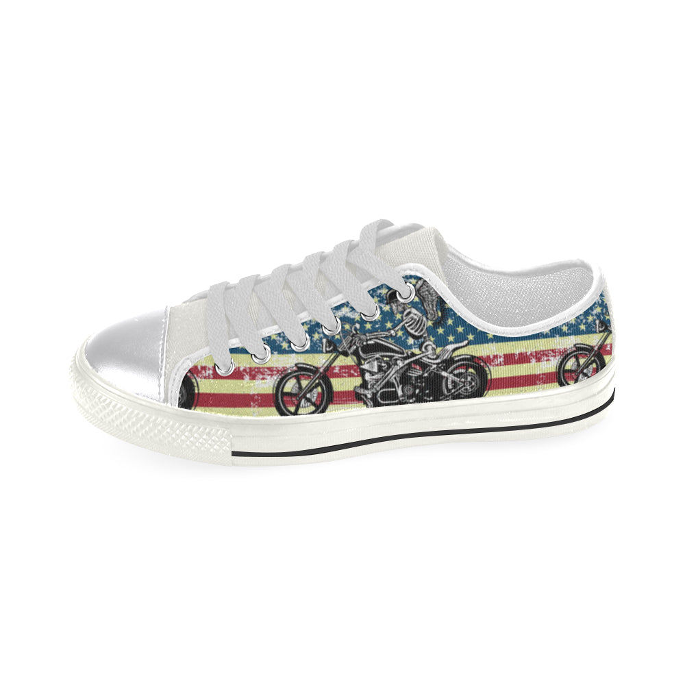 Skeleton Biker White Canvas Women's Shoes/Large Size - TeeAmazing