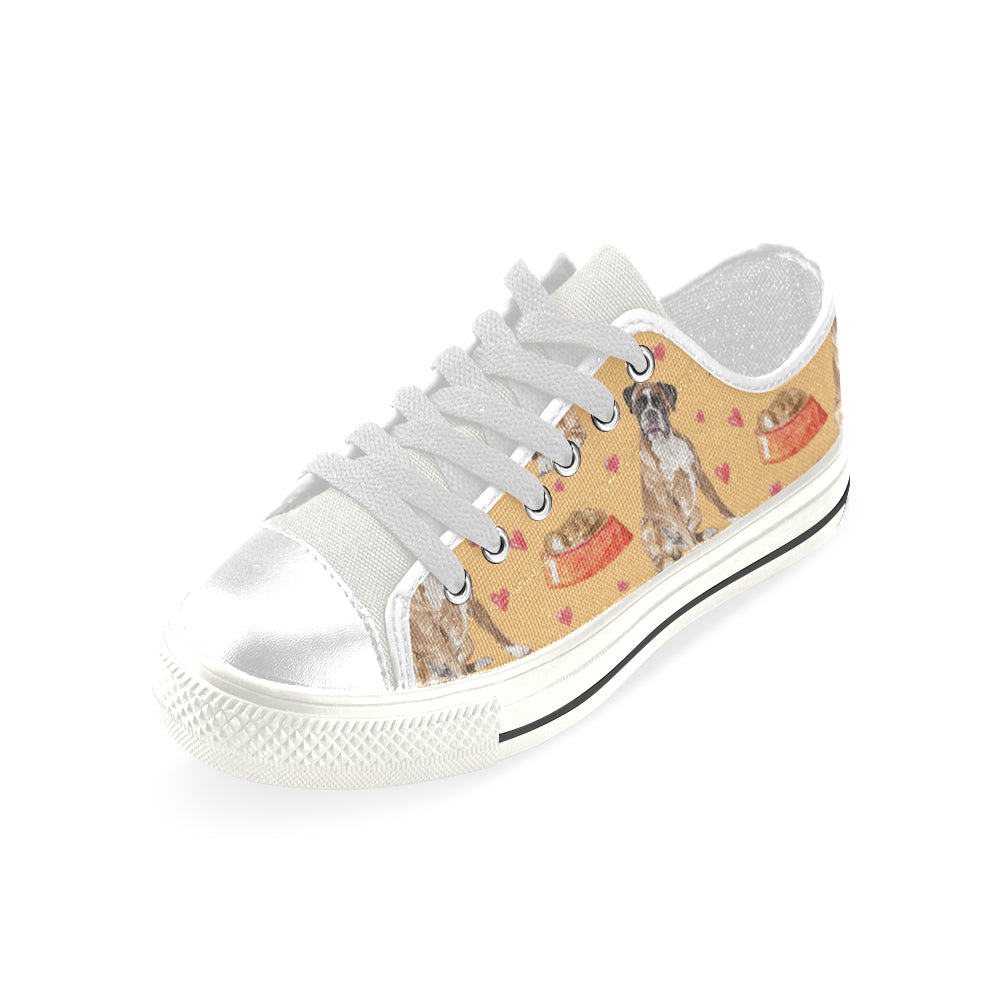 Boxer Water Colour Pattern No.1 White Men's Classic Canvas Shoes - TeeAmazing