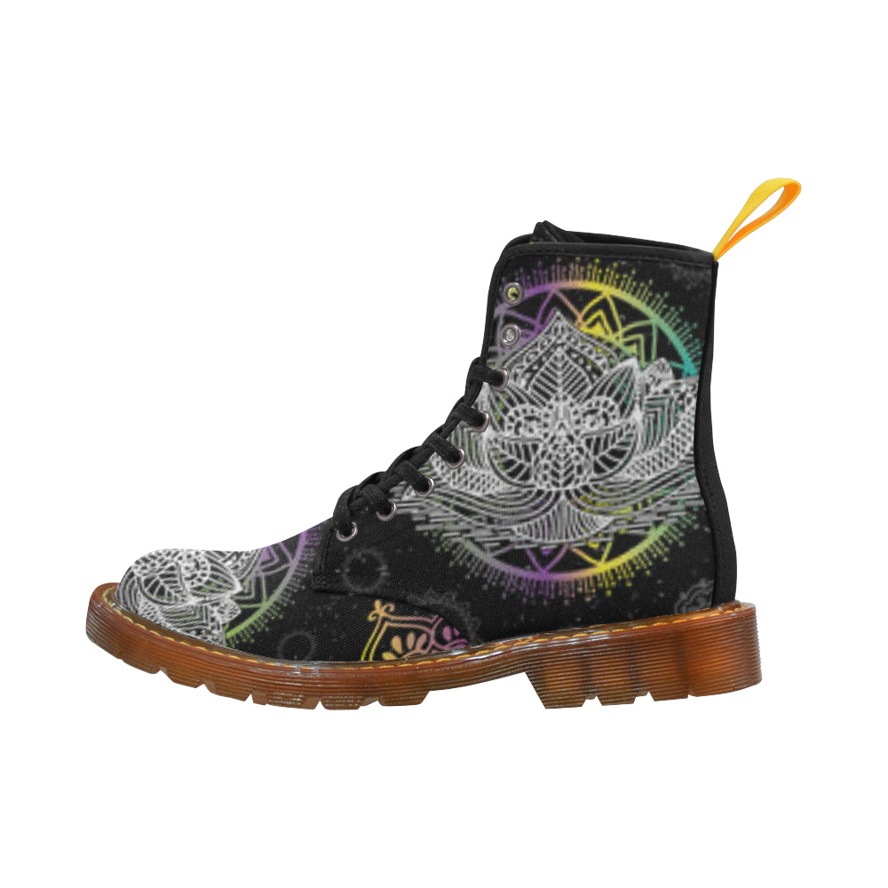 Lotus and Mandalas Black Boots For Women - TeeAmazing