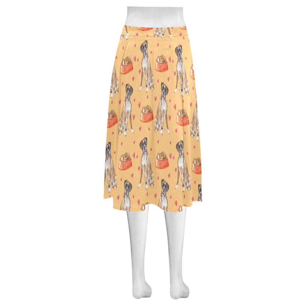 Boxer Water Colour Pattern No.1 Mnemosyne Women's Crepe Skirt (Model D16) - TeeAmazing