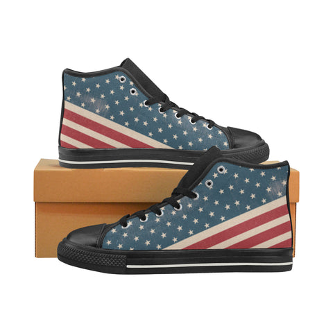 4th July V2 Black Men's Classic High Top Canvas Shoes (Model 017) - TeeAmazing