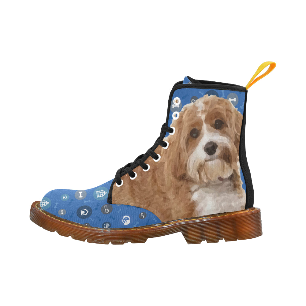 Cavapoo Dog Black Boots For Men - TeeAmazing