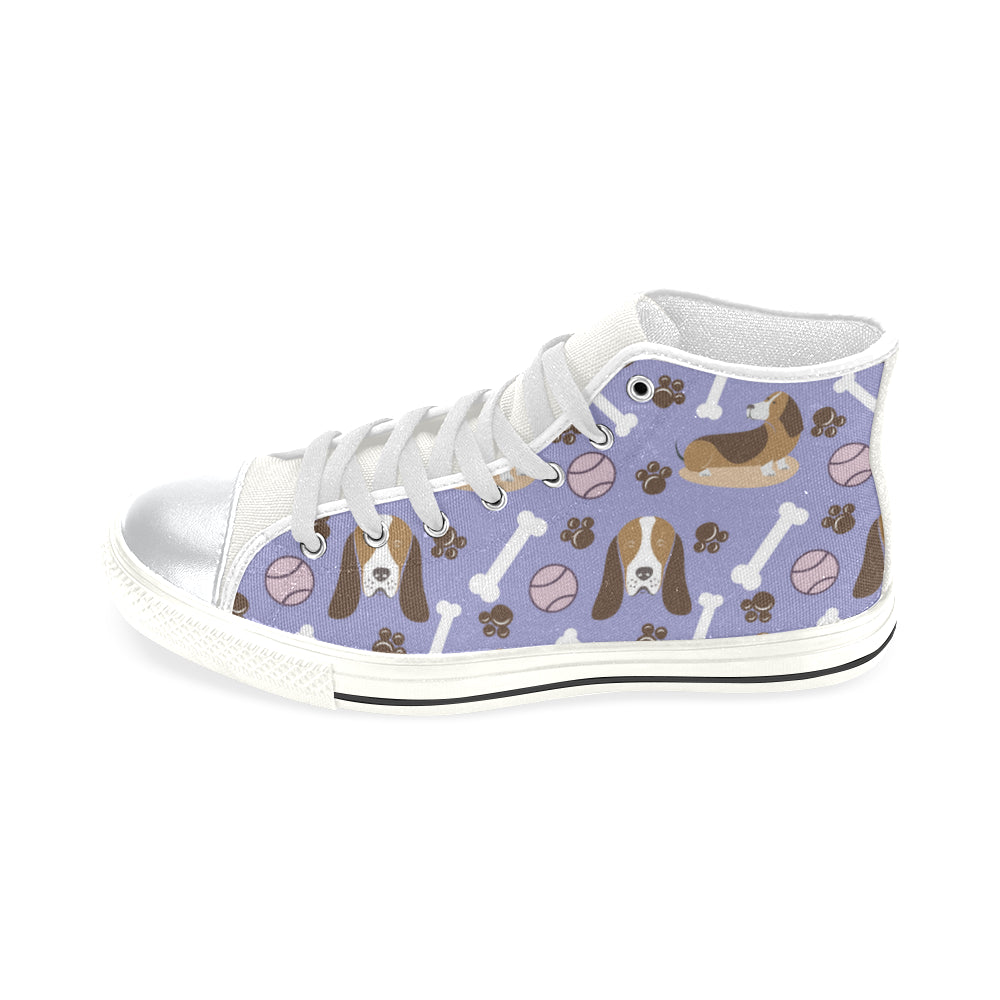 Basset Hound Pattern White High Top Canvas Women's Shoes/Large Size - TeeAmazing