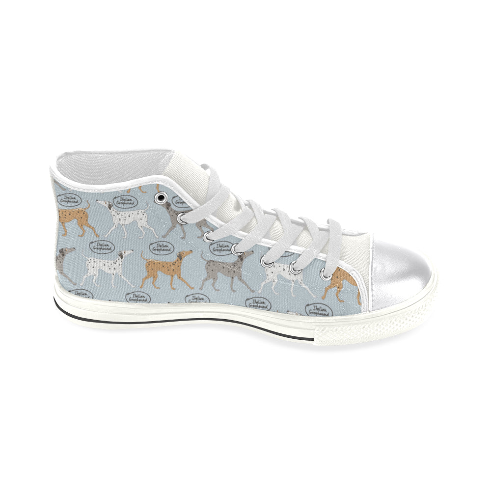Italian Greyhound Pattern White Women's Classic High Top Canvas Shoes - TeeAmazing