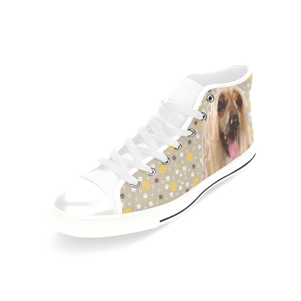 Afghan Hound White Men's Classic High Top Canvas Shoes /Large Size - TeeAmazing
