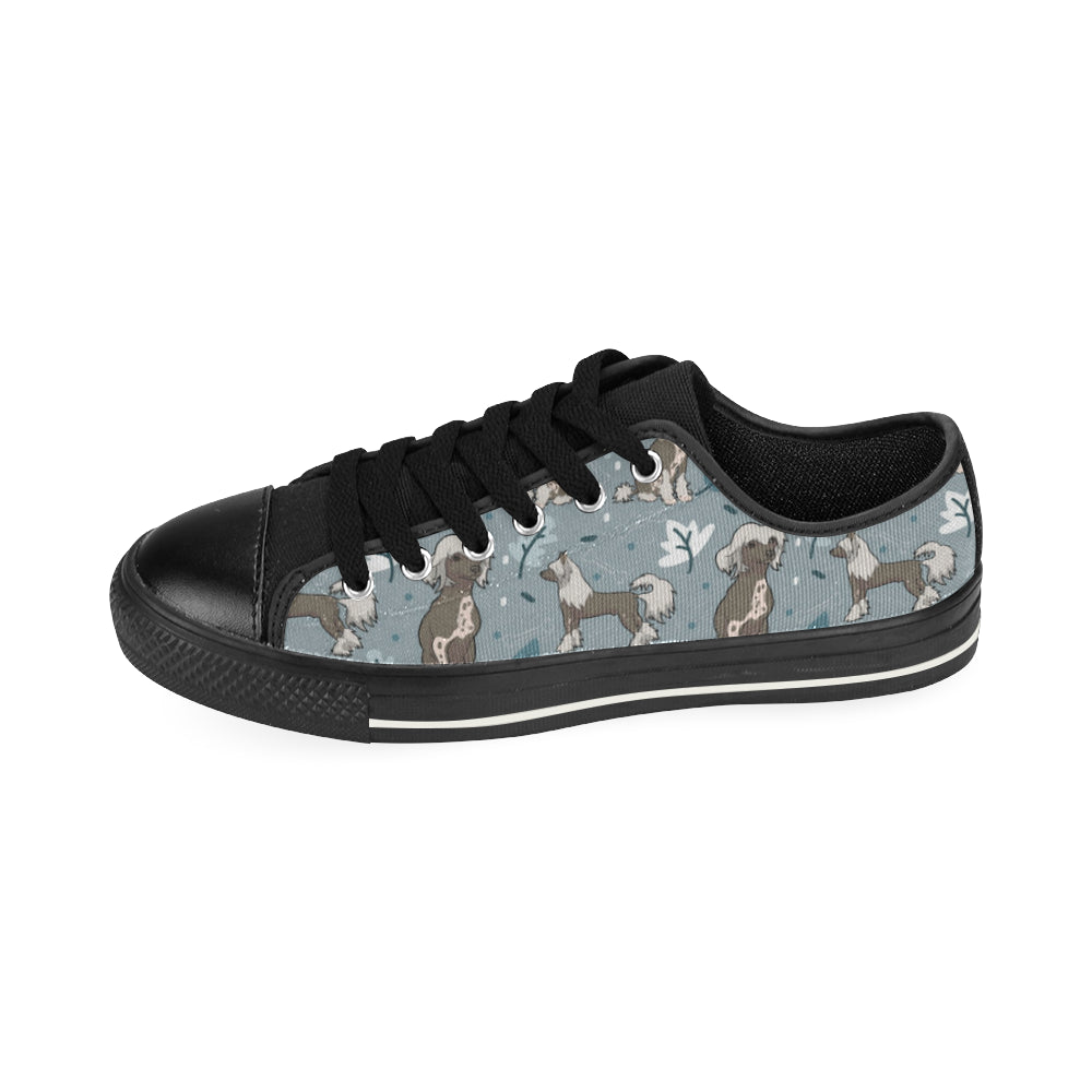Chinese Crested Black Low Top Canvas Shoes for Kid - TeeAmazing