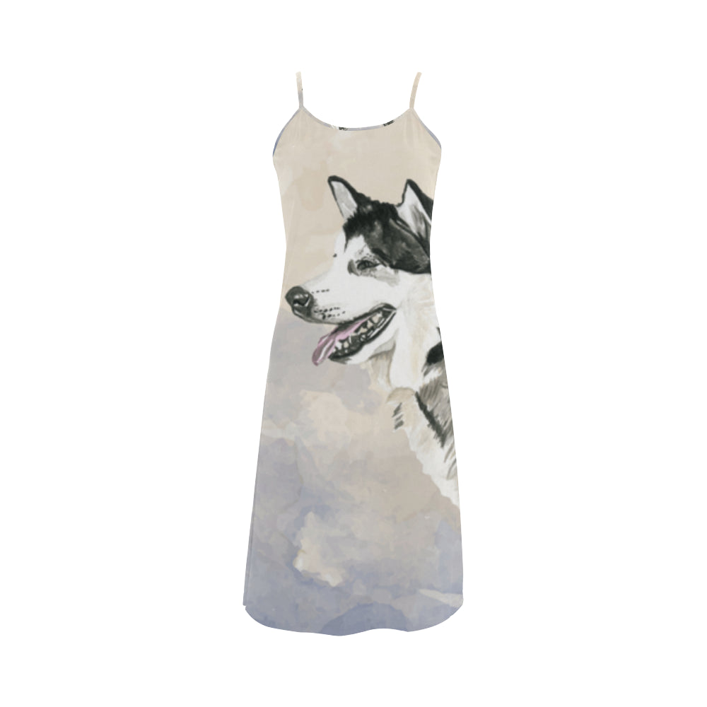 Alaskan Malamute Water Colour Alcestis Slip Dress (Model D05) - TeeAmazing