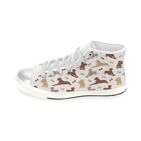 Labrador Retriever Pattern White Women's Classic High Top Canvas Shoes - TeeAmazing