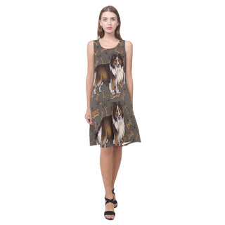 Shetland Sheepdog Dog Sleeveless Splicing Shift Dress(Model D17) - TeeAmazing