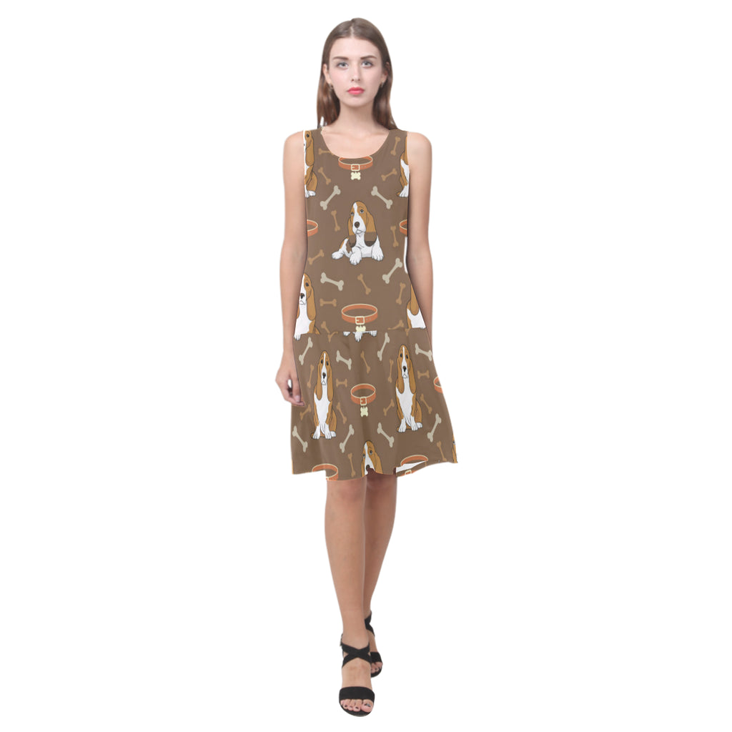 Basset Fauve Sleeveless Splicing Shift Dress - TeeAmazing