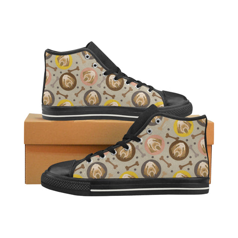 Spinone Italiano Black High Top Canvas Women's Shoes/Large Size (Model 017) - TeeAmazing