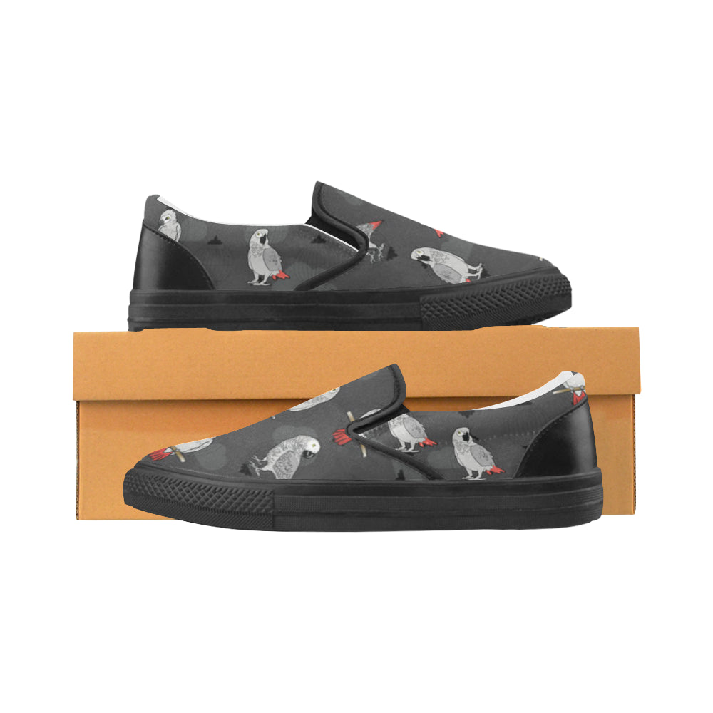 African Greys Black Women's Slip-on Canvas Shoes - TeeAmazing