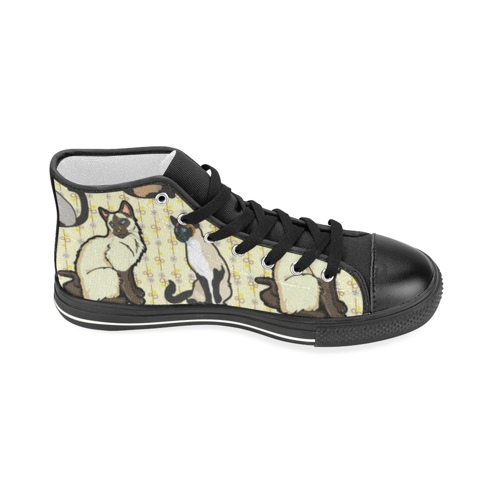 Siamese Black Women's Classic High Top Canvas Shoes (Model 017) - TeeAmazing
