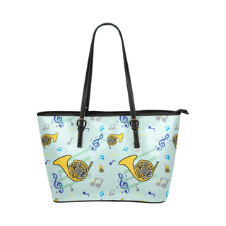 French Horn Pattern Leather Tote Bag/Small - TeeAmazing