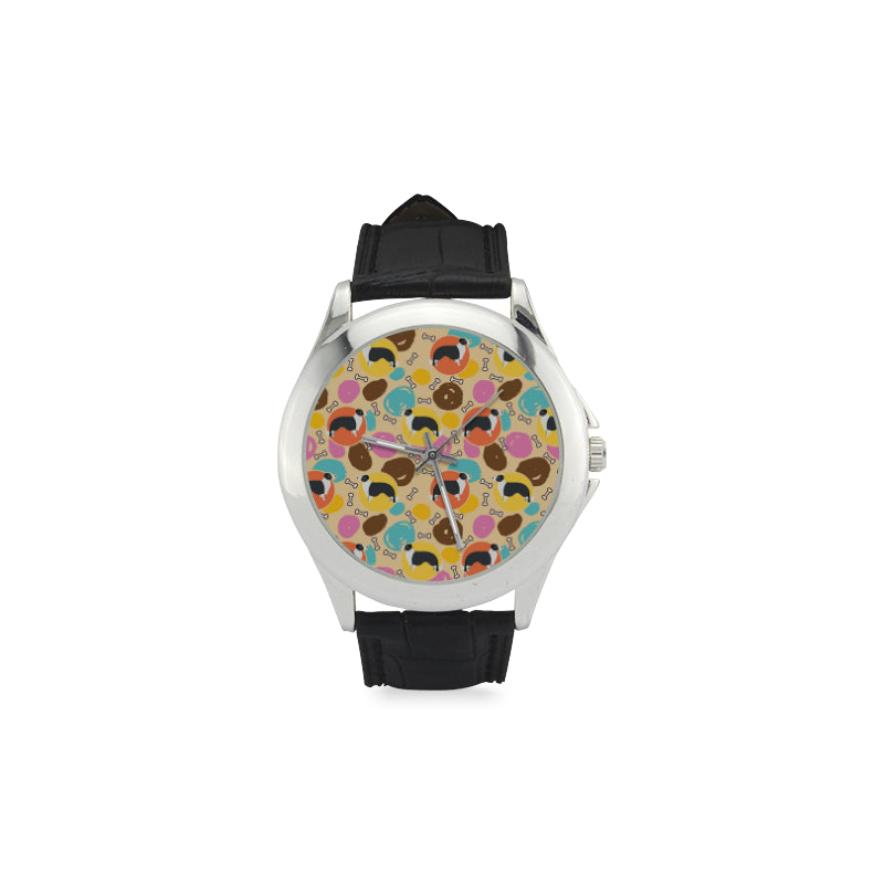 Border Collie Pattern Women's Classic Leather Strap Watch - TeeAmazing