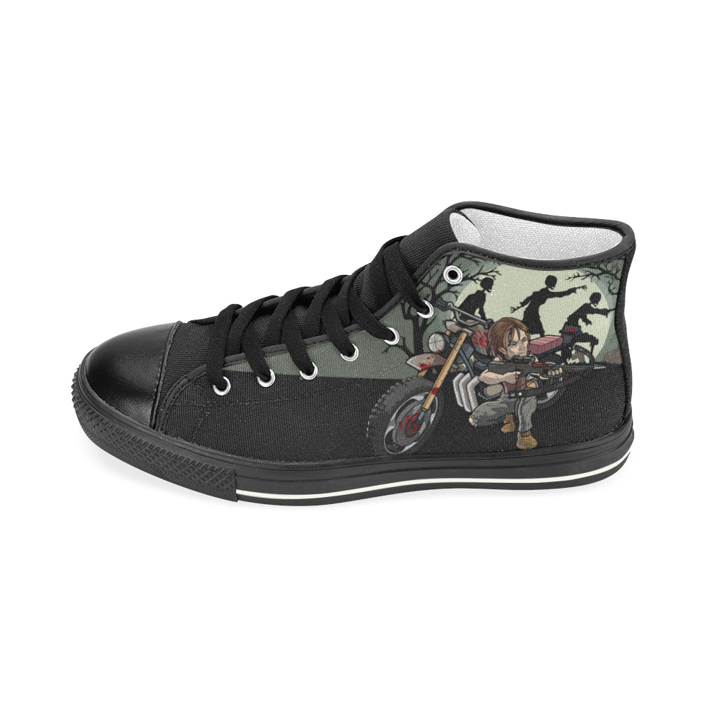 Daryl Dixon Black Men's Classic High Top Canvas Shoes - TeeAmazing