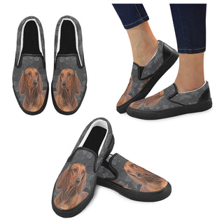 Dachshund Lover Black Women's Slip-on Canvas Shoes - TeeAmazing