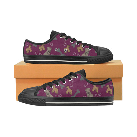 Soft Coated Wheaten Terrier Black Canvas Women's Shoes/Large Size (Model 018) - TeeAmazing