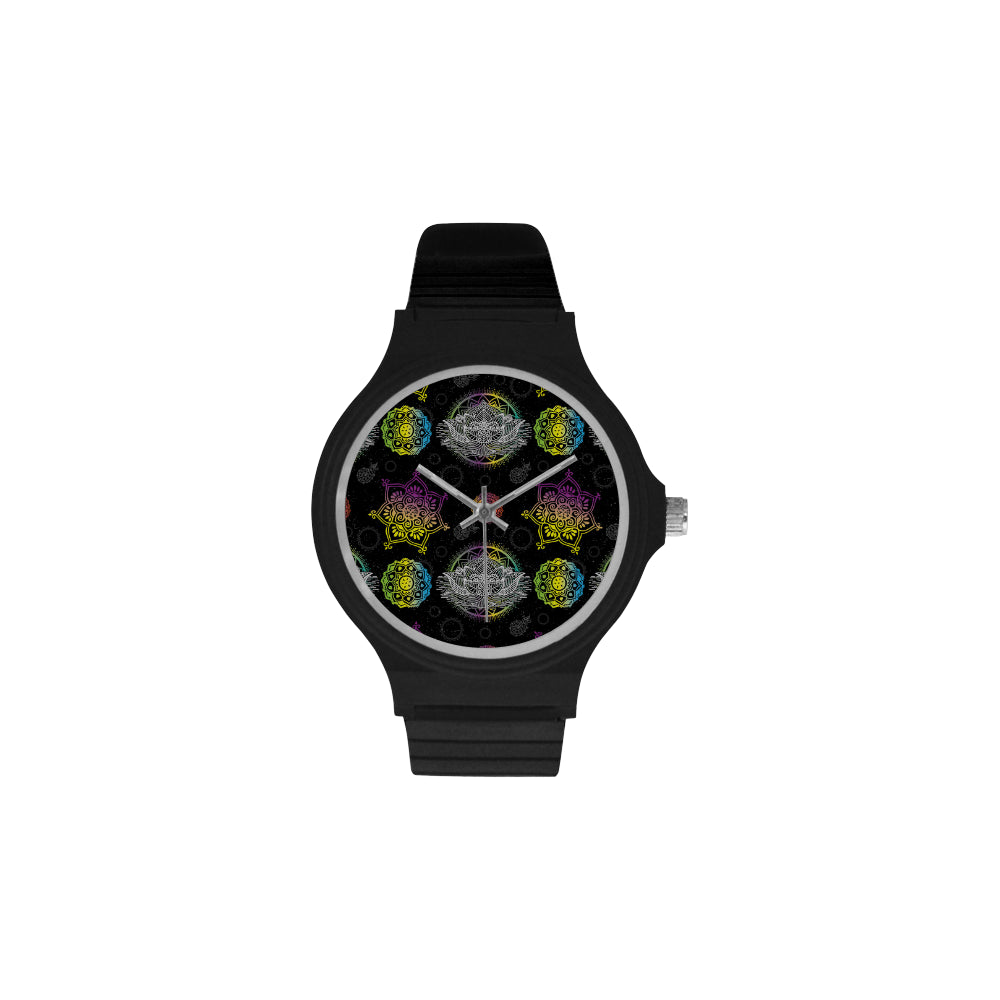 Lotus and Mandalas Unisex Round Plastic Watch - TeeAmazing