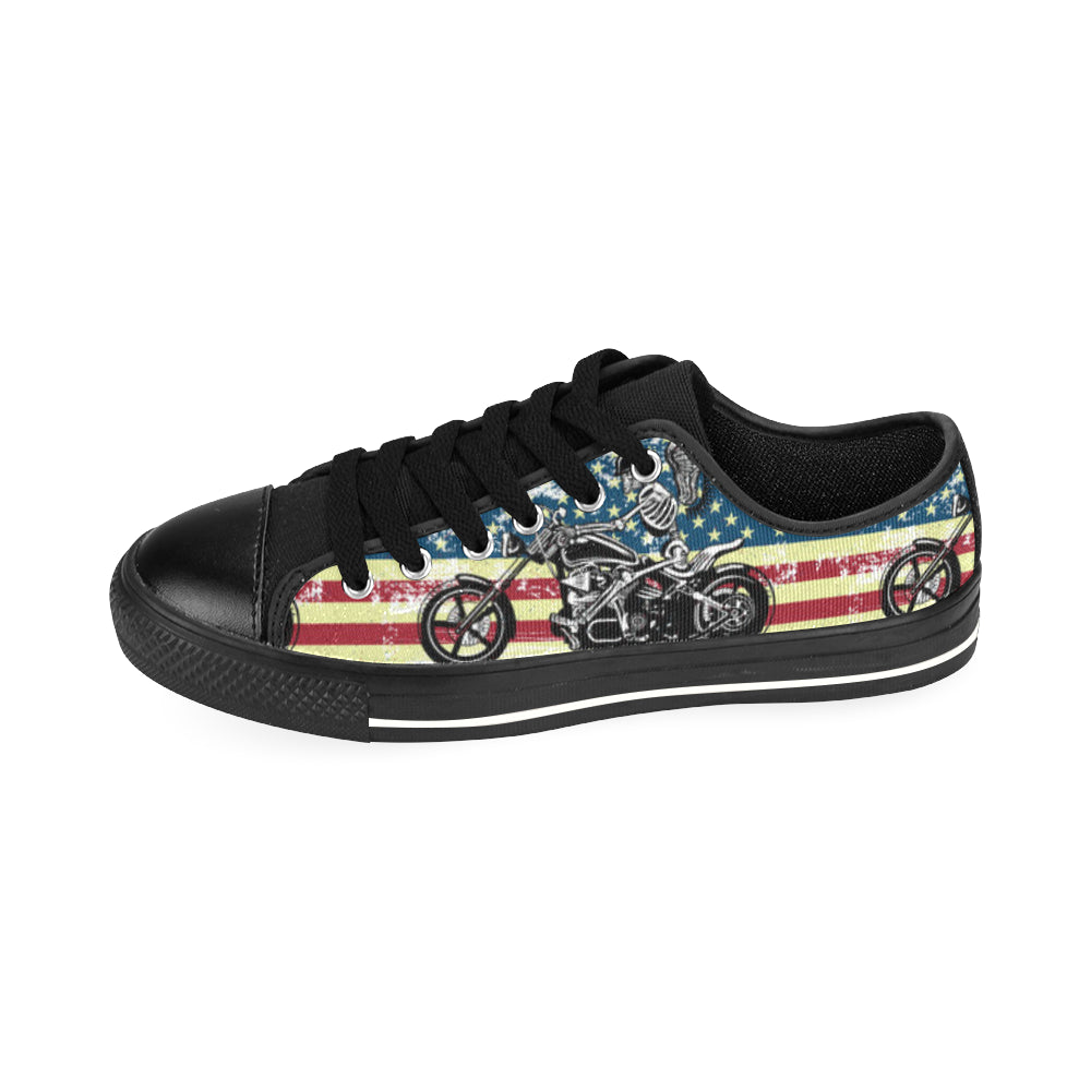 Skeleton Biker Black Men's Classic Canvas Shoes/Large Size - TeeAmazing