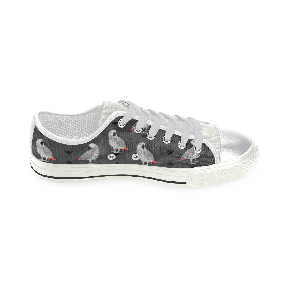 African Greys White Canvas Women's Shoes/Large Size - TeeAmazing