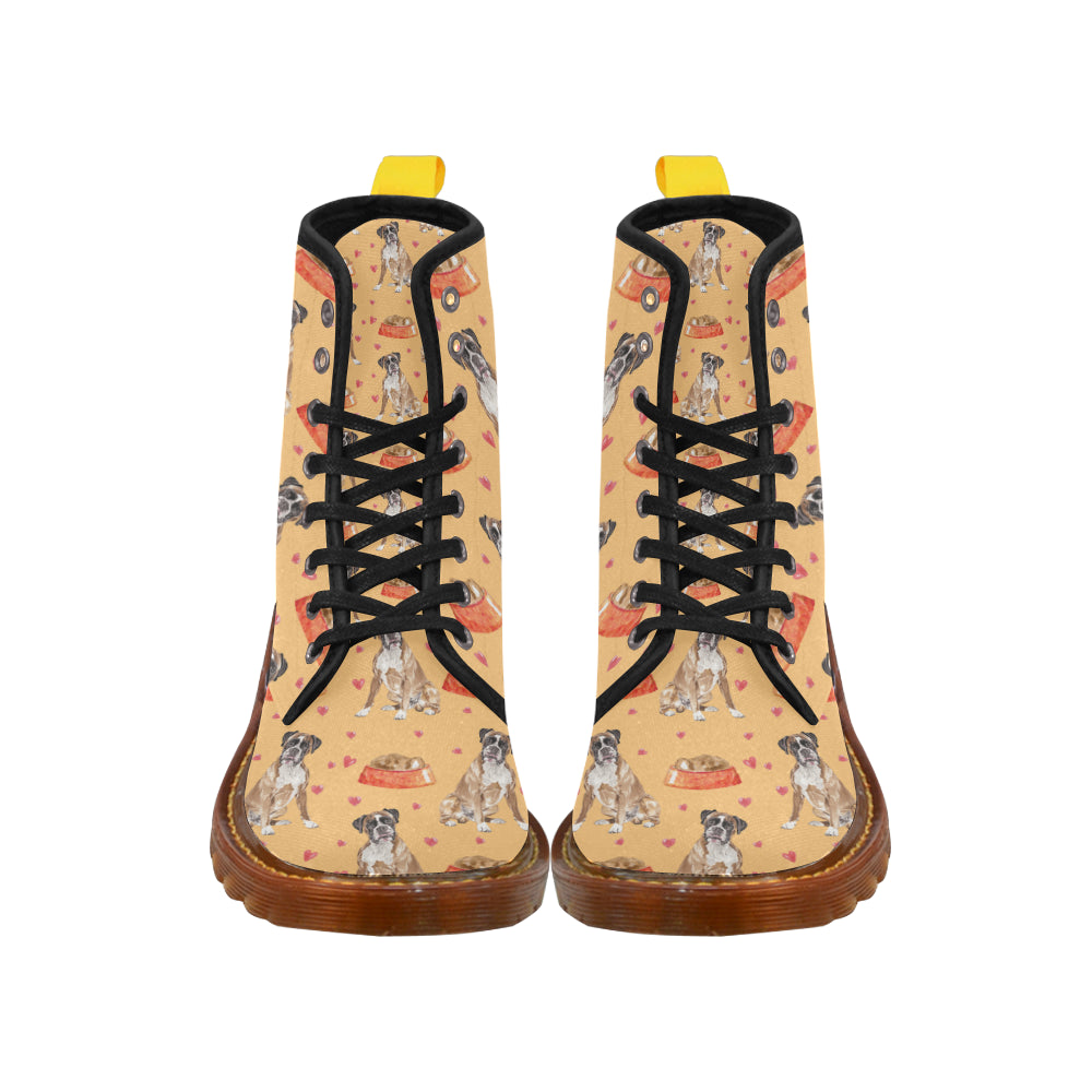 Boxer Water Colour Pattern No.1 Black Boots For Men - TeeAmazing