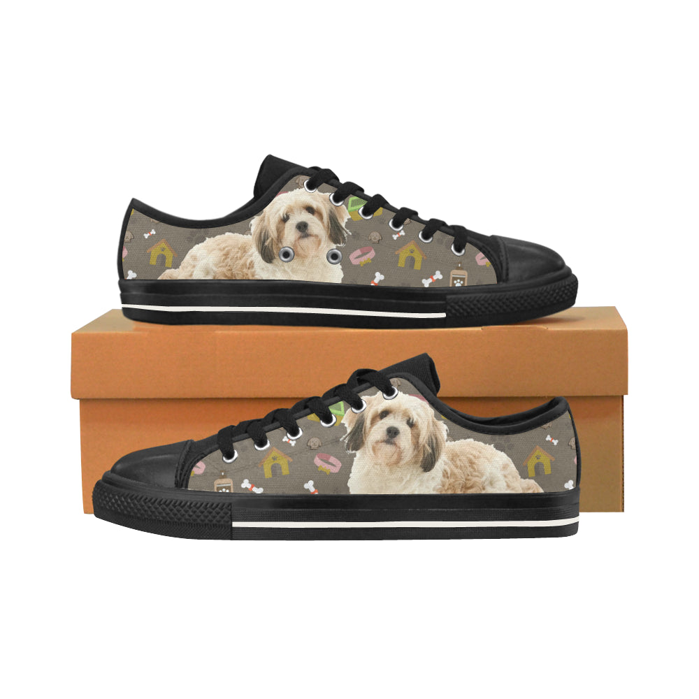 Cavachon Dog Black Men's Classic Canvas Shoes/Large Size - TeeAmazing