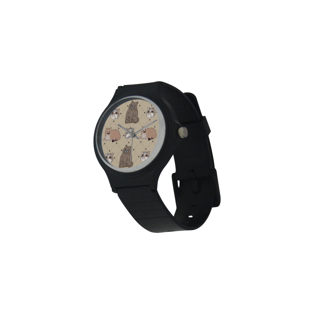 Exotic Shorthair Unisex Round Plastic Watch(Model 302) - TeeAmazing
