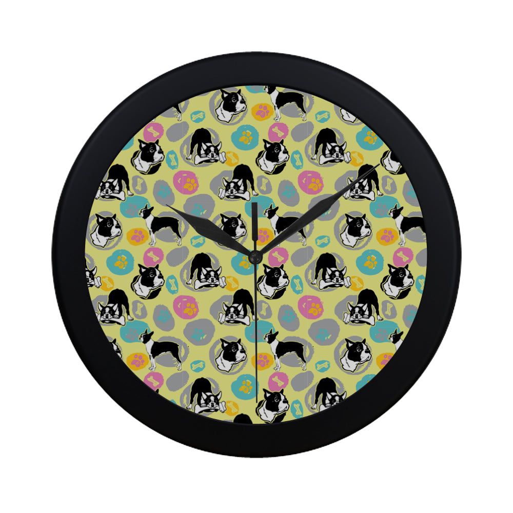 Boston Terrier Pattern Black Circular Plastic Wall clock - TeeAmazing