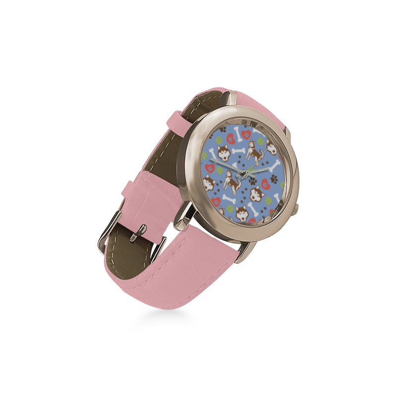 Alaskan Malamute Pattern Women's Rose Gold Leather Strap Watch(Model 201) - TeeAmazing
