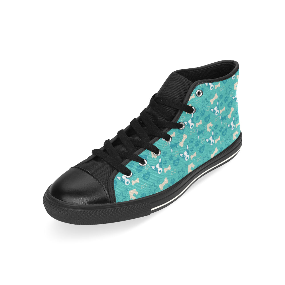 Australian Cattle Dog Pattern Black High Top Canvas Shoes for Kid - TeeAmazing
