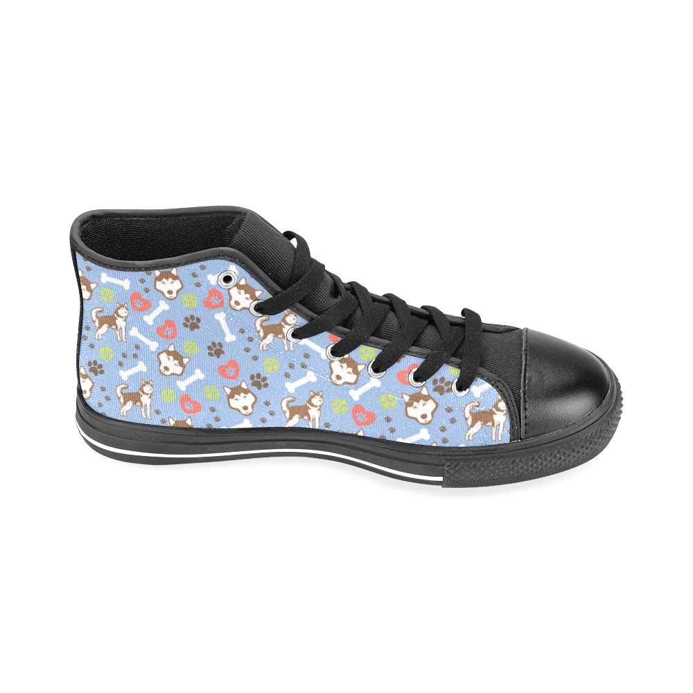 Alaskan Malamute Pattern Black Men's Classic High Top Canvas Shoes /Large Size - TeeAmazing