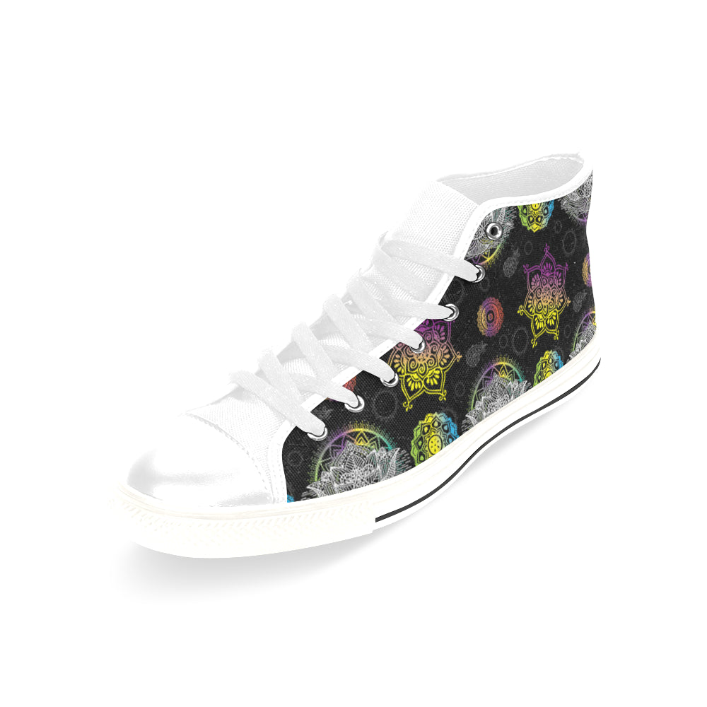 Lotus and Mandalas White Men's Classic High Top Canvas Shoes /Large Size - TeeAmazing
